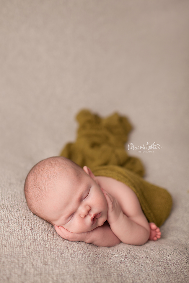 Streator Newborn Photographer - lying down froggy pose