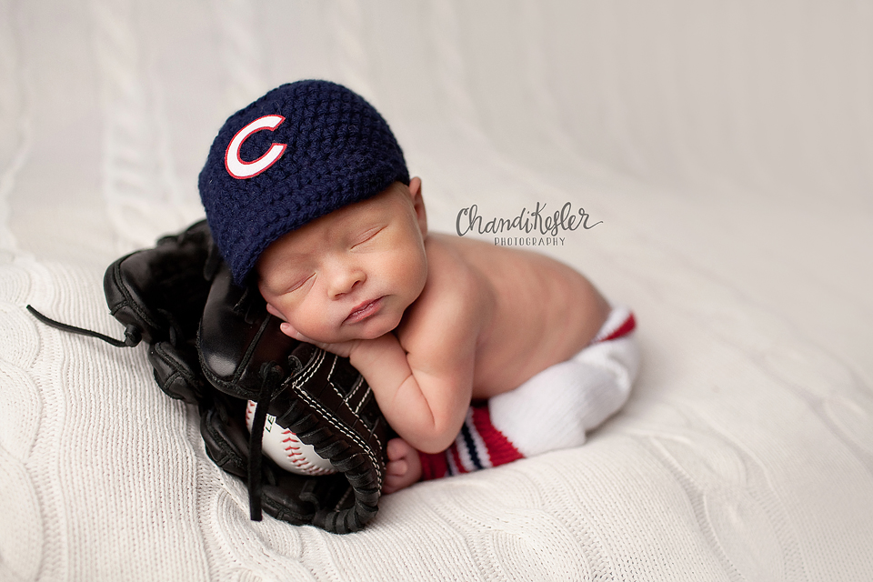 Central Illinois Bloomington Mahomet Photographer  | Newborn Baby Session  | Chandi Kesler Photography - newborn with baseball