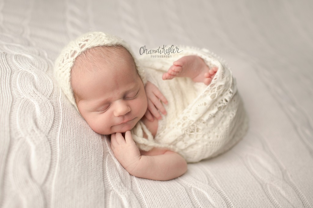 Champaign IL Newborn Photographer | Newborn  Wrap Pose | Chandi Kesler Photography
