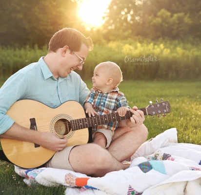 baby Playing guitar| Champaign IL Family Photography Session | Chandi Kesler Photography | one year photos