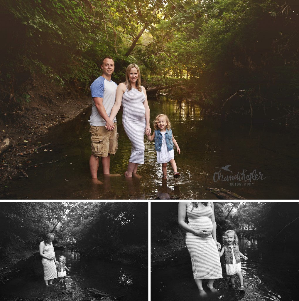 Outdoor maternity session family of 3  | Creek Maternity session | Creek photos