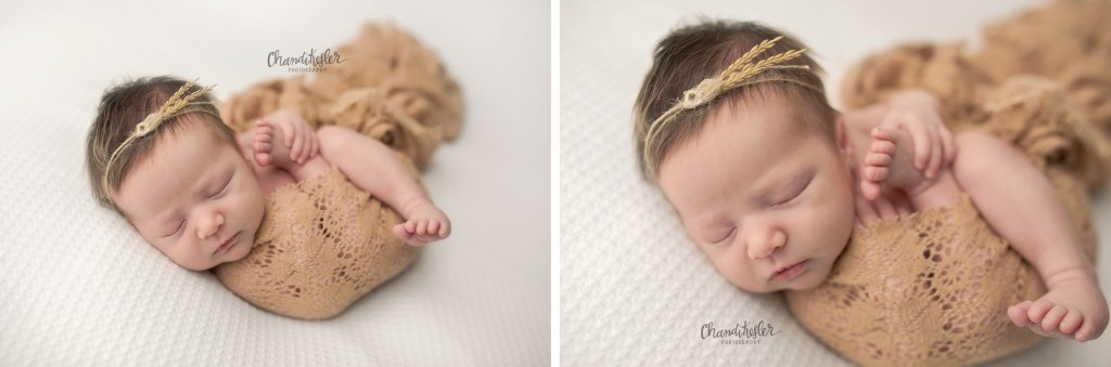 Champaign IL Newborn Photographer | newborn wrap posing | Chandi Kesler Photography