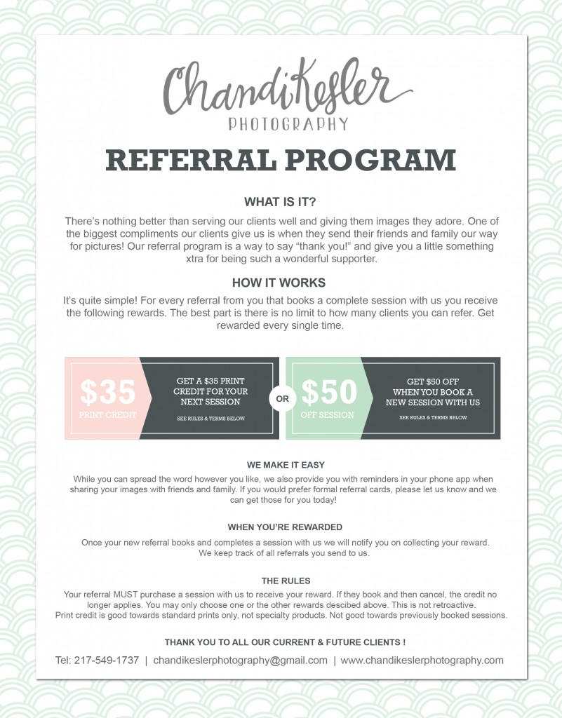 Photography Referral Program | Central IL Newborn Photography | Chandi Kesler Photography